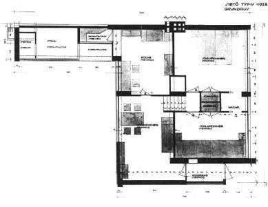 Sídliště Törten - Půdorys přízemí a horního patra typu sietö IV z roku 1928. Skříňová stěna mezi ložnicemi a umývárna na uliční fasádě se nezachovaly v žádném z domů. - foto: archiv redakce