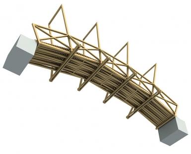 Lávka v zámeckém parku - Pohled na konstrukci ze spodu. - foto: © hnilička — císler — architekti