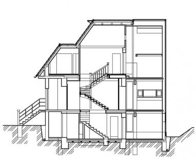 Rekonstrukce a přístavba rodinného domu ve Všenorech - Řez - foto: Symbio Design