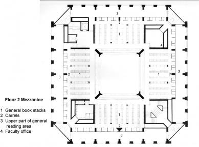 Phillips Exeter Academy Library - 2NP - mezanin - foto: Louis I. Kahn