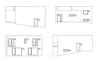 Dům 2050 - Pohledy - schéma oken - foto: Alexandr Skalický