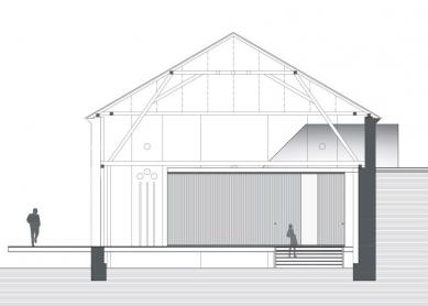 Projekt adaptace volně stojící stodoly - Řez - foto: VELEK, VELKOVÁ, VELEK ARCHITEKTI