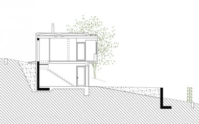 Rodinný dům ve Veverských Knínicích - Příčný řez - foto: Architektonická kancelář Burian-Křivinka