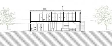 Rodinný dům ve Veverských Knínicích - Podélný řez - foto: Architektonická kancelář Burian-Křivinka