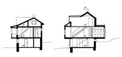 Přestavba chaty v Dolní Lhotě - Řez - původní a současný stav - foto: Pavel Mudřík