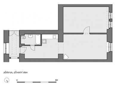 Rekonstrukce bytu 2+kk na Pohořelci - Půdorys - původní stav - foto: A1Architects