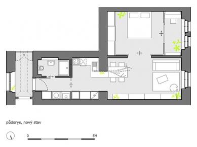 Rekonstrukce bytu 2+kk na Pohořelci - Půdorys - současný stav - foto: A1Architects