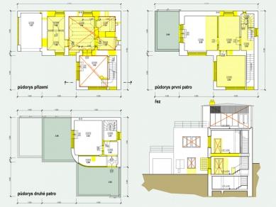Rekonstrukce funkcionalistické vily - Půdorysy - bourací práce