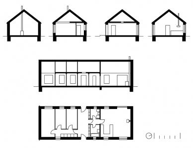 Rodinné domy v Běstvině - Půdorysy a řezy - foto: © Pinkas Žalský architekti