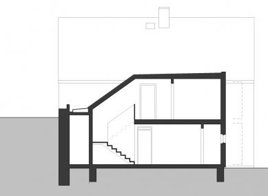 Víkendový dům Čeřeniště - dostavba - Řez - foto: 3+1 architekti