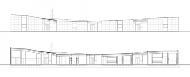 Mateřská škola Oliver - Severovýchodní pohled a podélný řez - foto: © Carroquino   Finner Arquitectos