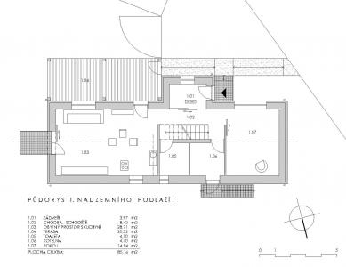 Obnova domu v Zádveřicích - 1NP - foto: Pavel Mudřík Architects
