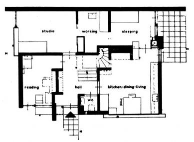 Dům Rietvelda a Schröderové - Půdorys přízemí