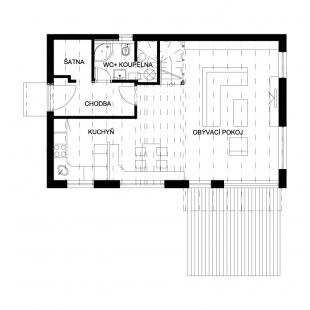 Rodinný dům Domesi – Zlatá I. - Půdorys 1NP
