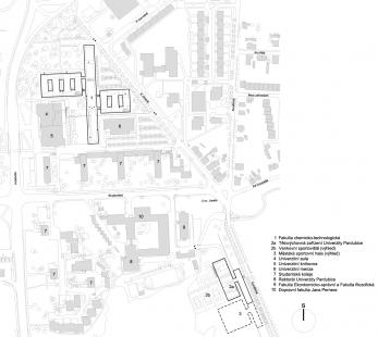 Fakulta chemicko-technologická a Tělovýchovná zařízení Univerzity Pardubice - Situace - foto: Kuba, Pilař architekti