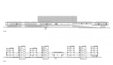 Fakulta chemicko-technologická a Tělovýchovná zařízení Univerzity Pardubice - FCHT - řezy - foto: Kuba, Pilař architekti