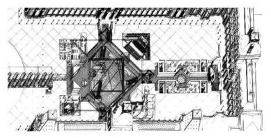 Le Grand Louvre - Axonometrie vstupní části - foto: Pei Cobb Freed & Partners Architects LLP