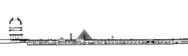 Le Grand Louvre - Podélný řez - foto: Pei Cobb Freed & Partners Architects LLP