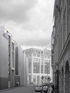 Řadový dům O-10 - Zákres do fotografie - foto: David Chipperfield Architects