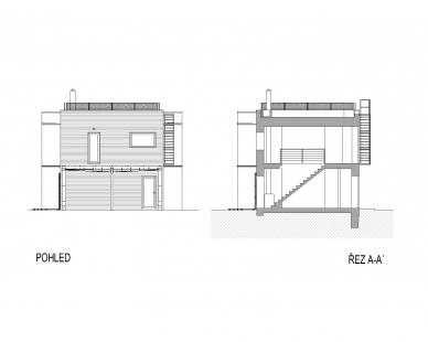 RD Černošice - Boční pohled a řez - foto: KA architekti