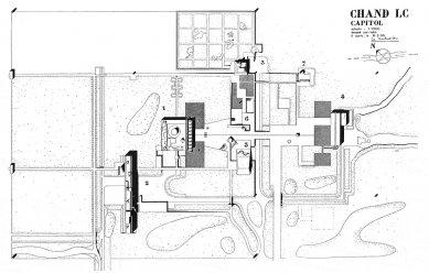 Kapitol v Čandígarhu - Původní plán kapitolu z r. 1951 (1-Parlament; 2-Sekretariát; 3-Palác guvernéra (nerealizováno); 4-Nejvyšší soud; 5-Věž stínů)