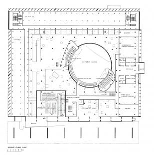 Kapitol v Čandígarhu - Parlament - půdorys patra