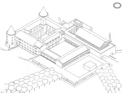Rozšíření kláštera svatého Benedikta - Axonometrie