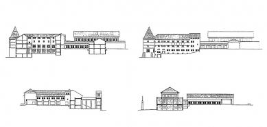 Rozšíření kláštera svatého Benedikta - Pohledy a řezy