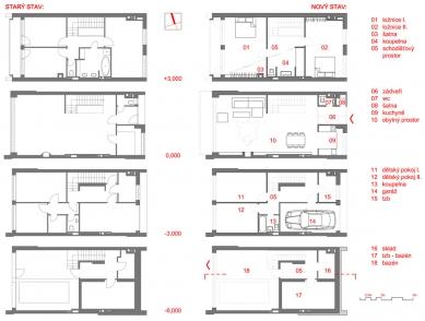 Rekonstrukce řadového rodinného domu - Plány - foto: Velek, Velkova, Velek Architekti