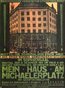 Obchodní dům Goldman & Salatsch - Plakát k přednášce A.Loose o domě na Michaelerplatzu