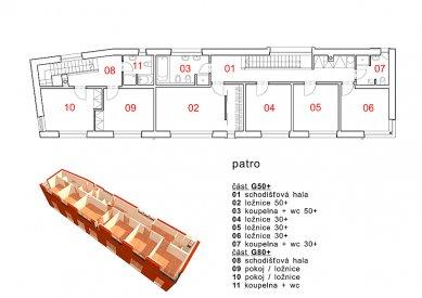 Dvougenerační rodinný dům Karlovy Vary - Půdorys patra - foto: © my architekti