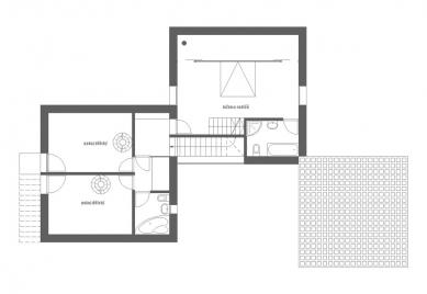 Rodinný dům ve Veliši - Půdorys patra