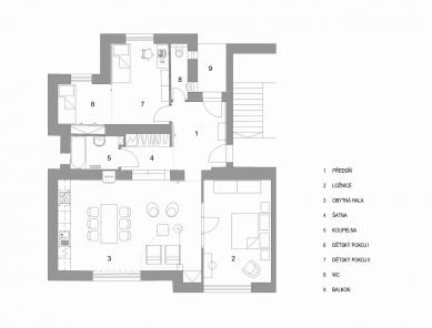 Rekonstrukce bytu Charvatská 44 - Půdorys - současný stav