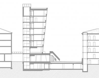 Information Center of the Technical University in Liberec - Příčný řez - foto: architektonická kancelář Fakulty umění a architektury TU v Liberci