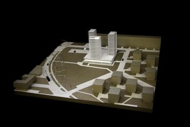 Přestavba kulturního a obchodního centra Obzor - Varianta A - model - foto: Rudiš-Rudiš architektonická kancelář