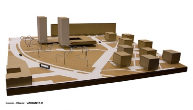 Přestavba kulturního a obchodního centra Obzor - Varianta B - model - foto: Rudiš-Rudiš architektonická kancelář