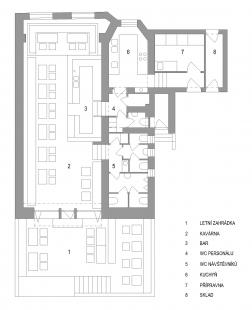 Kavárna Klafé - Půdorys - současný stav