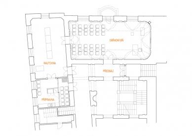 Obnova obřadní síně Nové radnice Uherské Hradiště - Půdorys - foto: knesl + kynčl architekti