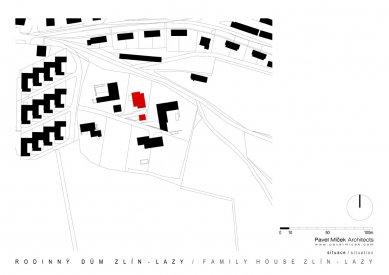 Rodinný dům Zlín - Lazy - Situace - foto: Pavel Míček Architects