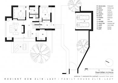 Rodinný dům Zlín - Lazy - 1NP - foto: Pavel Míček Architects