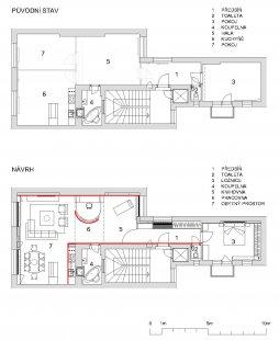 Rekonstrukce bytu 3+1 na bytové studio - Půdorys - foto: archiv autora
