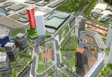 Porta Firá Towers - Vizualizace celého areálu - foto: Toyo Ito and Associates, Architects