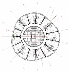 Porta Firá Towers - Typický půdorys hotelového patra - foto: Toyo Ito and Associates, Architects