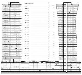 Porta Firá Towers - Řez - foto: Toyo Ito and Associates, Architects
