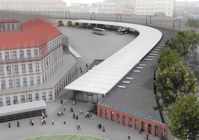 Dočasná odbavovací hala autobusového nádraží na Florenci - Vizualizace - foto: Studio Visage