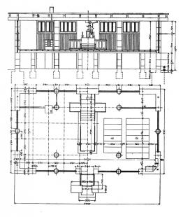 Kostel sv. Michala na Lublaňských blatech - Půdorys a řez kostelem z roku 1936-37