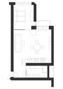 Interiér bytu - Vila Kunzova, Brno - Půdorys