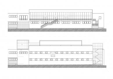 Digital Centre TV NOVA - Fasáda JV (nahoře stávající stav, dole návrh)