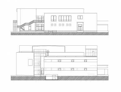 Digital Centre TV NOVA - Fasáda SV (nahoře stávající stav, dole návrh)