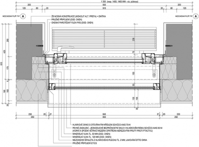 Administrativní centrum Triniti - Vzorový detail omítané fasády